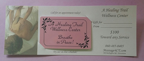 Gift certificates for A Healing Trail